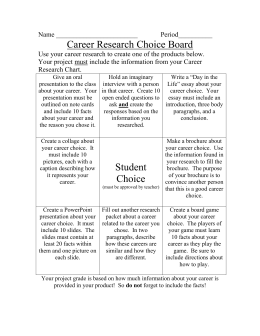 Career Research Choice Board