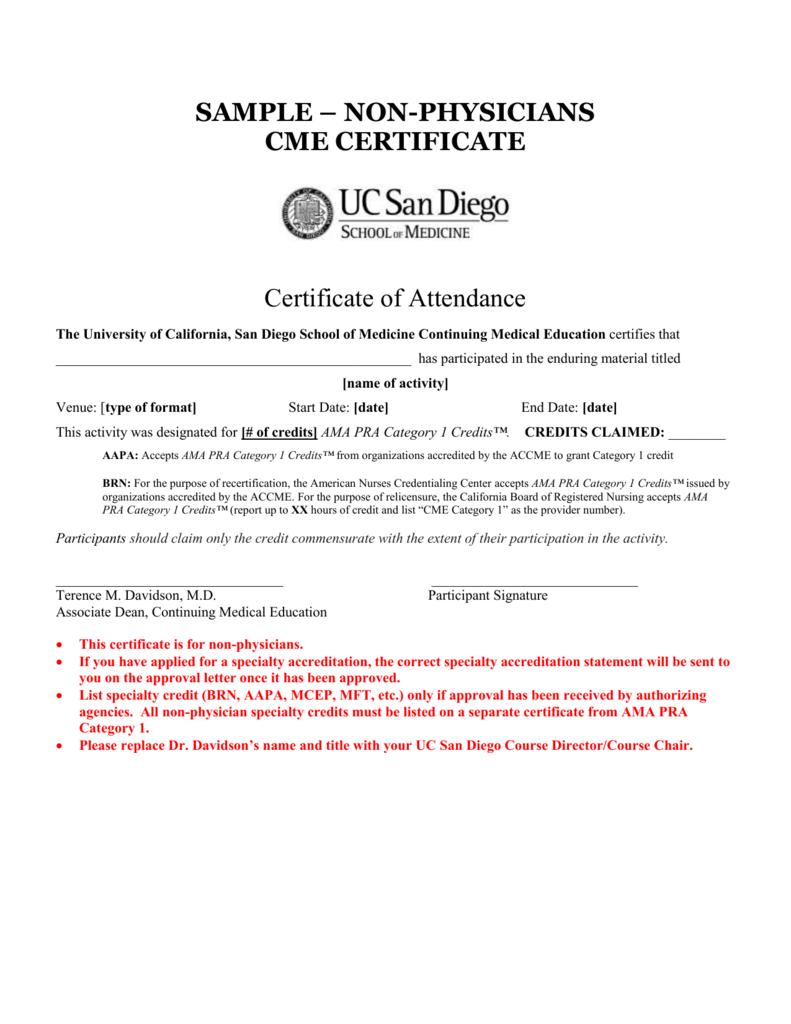 ... Sample Certificate For Participation Sample U2013 Physicians Cme  Certificate ...