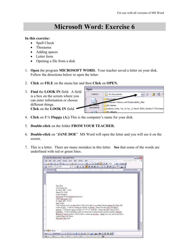 Microsoft Word: Exercise 6