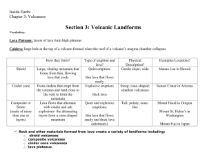 Section 3 notes: Volcanic landforms
