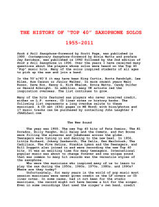 "THE HISTORY OF SAXOPHONE SOLOS IN ""POP"""
