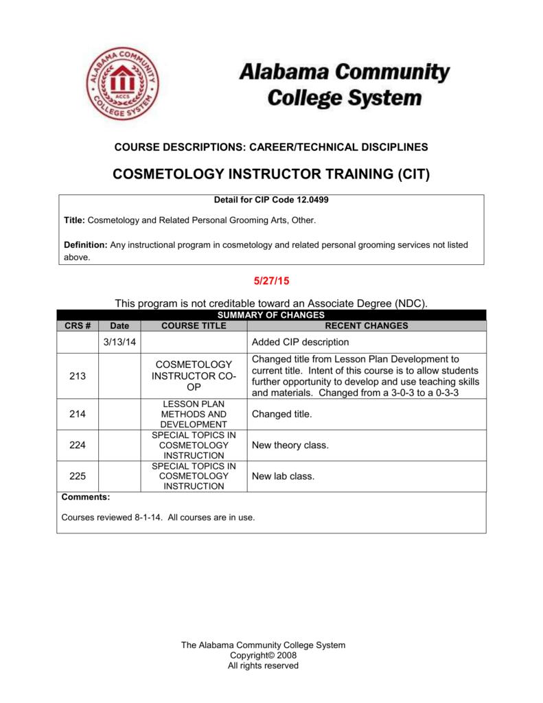 cosmetology instructor training