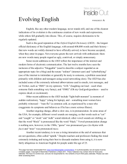Evolving English WORKSHEET A
