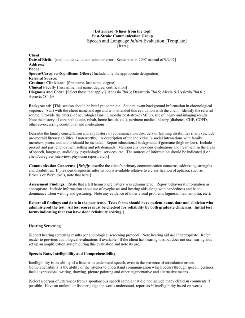 Speech and Language Initial Evaluation [Template] With Regard To Speech And Language Report Template