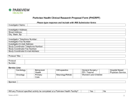 Parkview Health Clinical Research Proposal Form (PHCRPF)