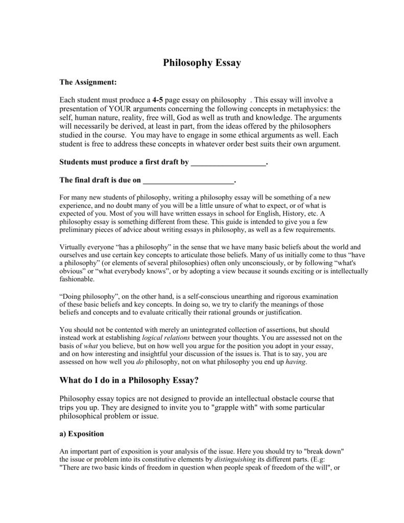 free philosophy essays