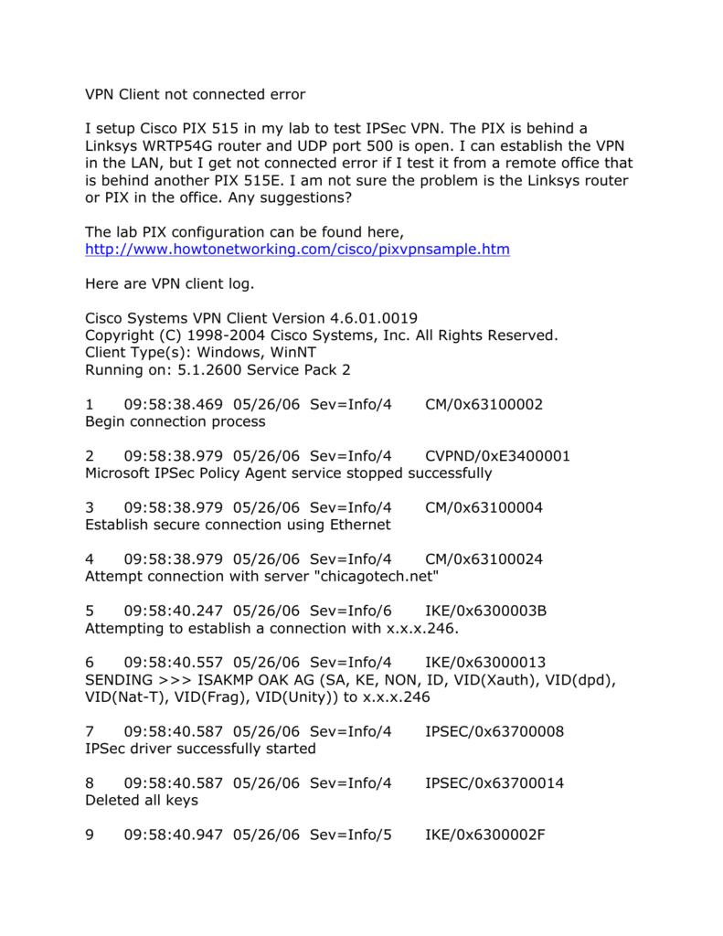24545-VPN Client not connected error