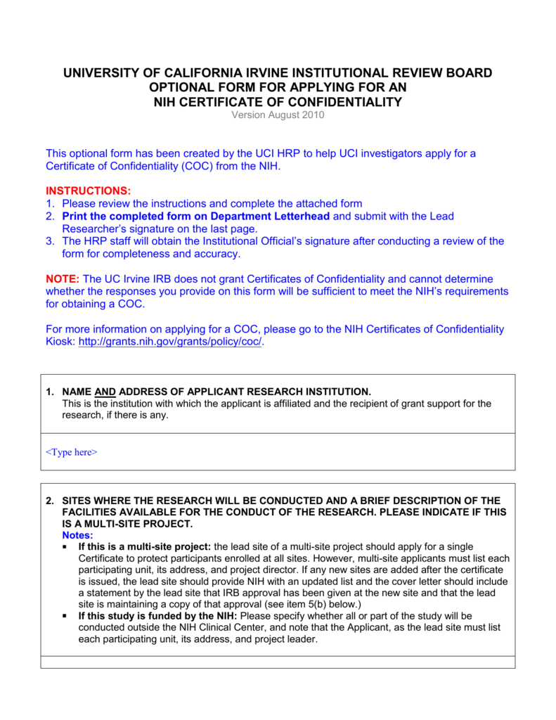 Certificates Of Confidentiality Application And Instructions
