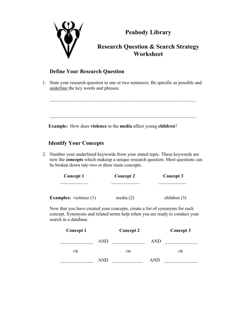 Research Question Search Strategy Worksheet