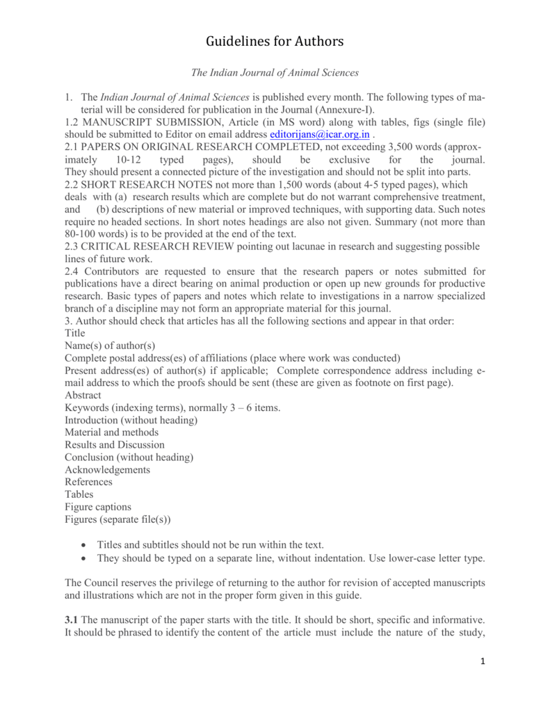 Guidelines For Authors Indian Council Of Agricultural Research