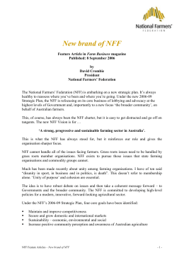 New brand of NFF - National Farmers` Federation