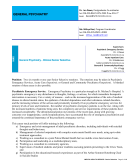 General Psychiatry - Clinical Senior Selective