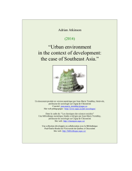 """Urban environment in the context of development: the case of"