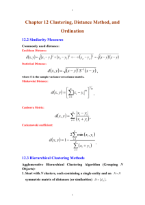 Chapter 12 Clustering, Distance Method, and Ordination