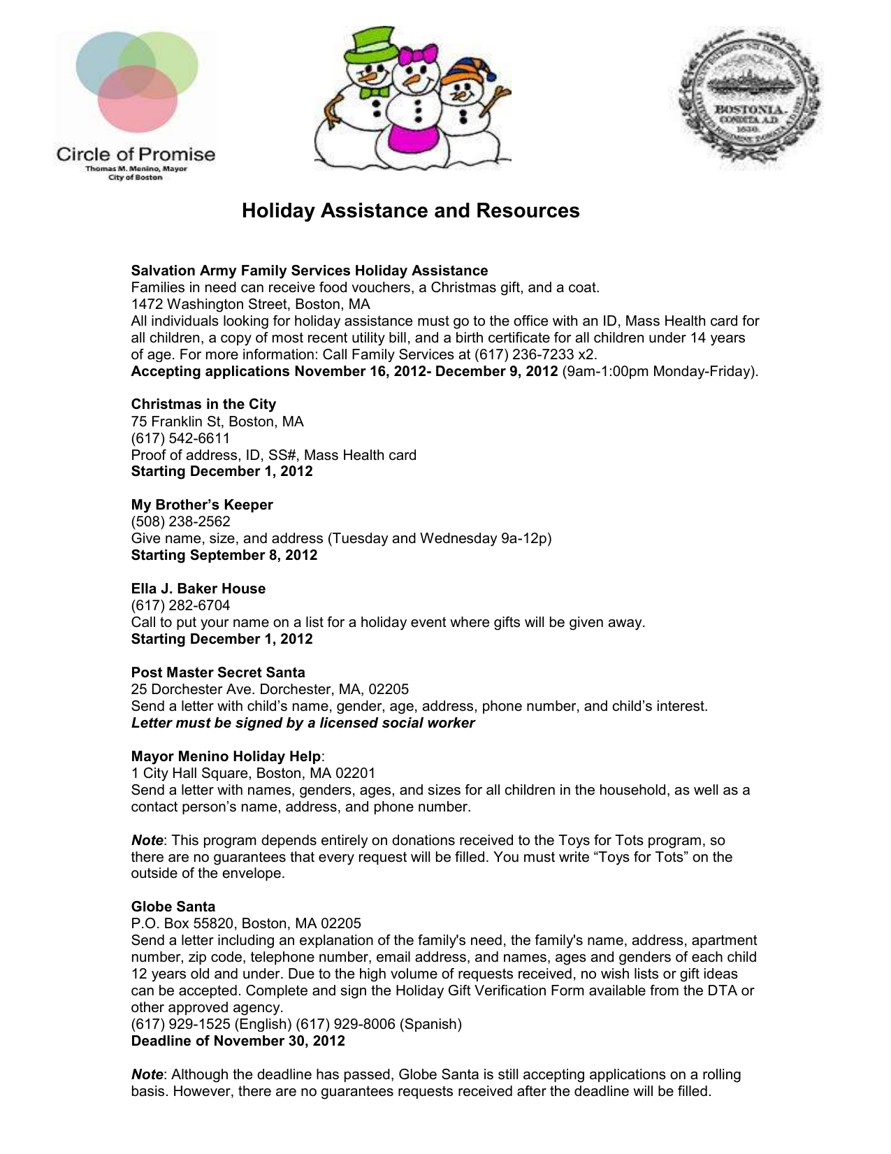 Holiday Assistance And Resources