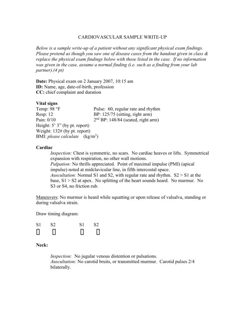 CARDIOVASCULAR SAMPLE WRITE-UP