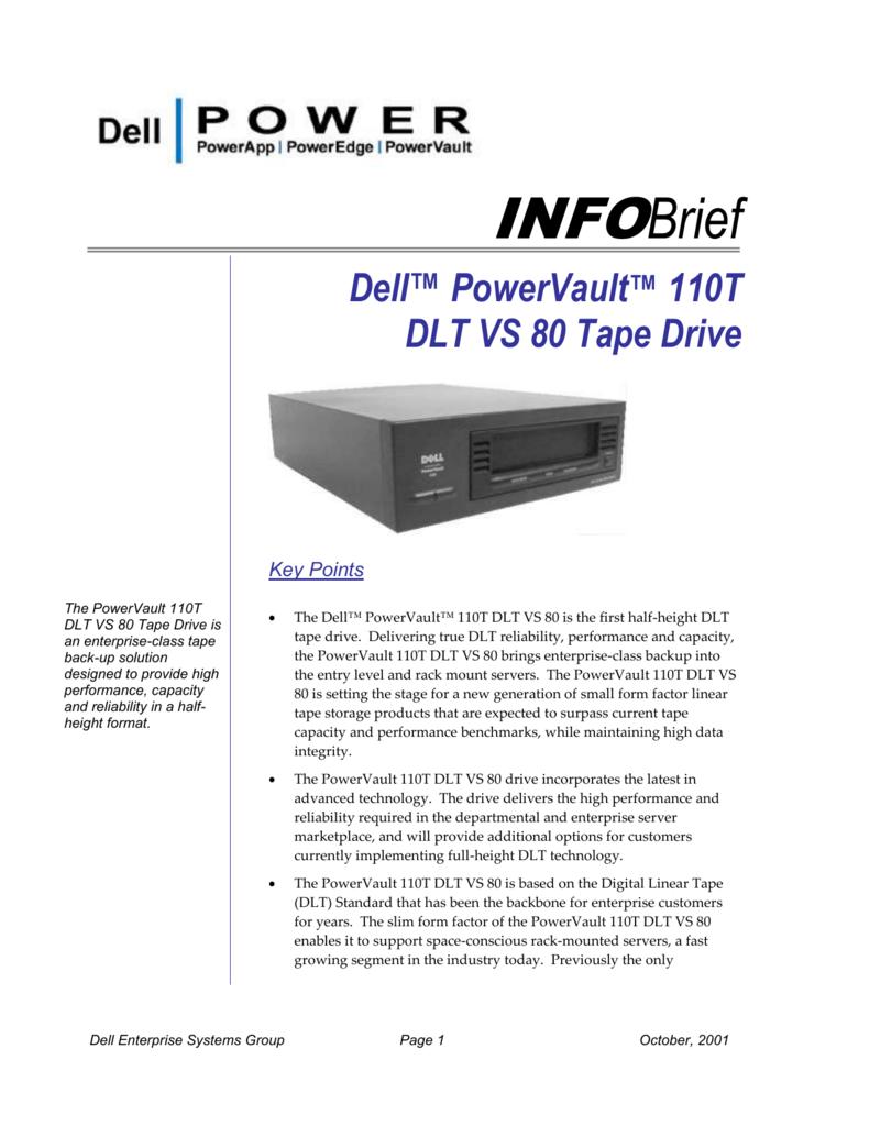 Dell PowerEdge 1300 PowerVault 110T DLT VS80 Tape Backup Drivers Update