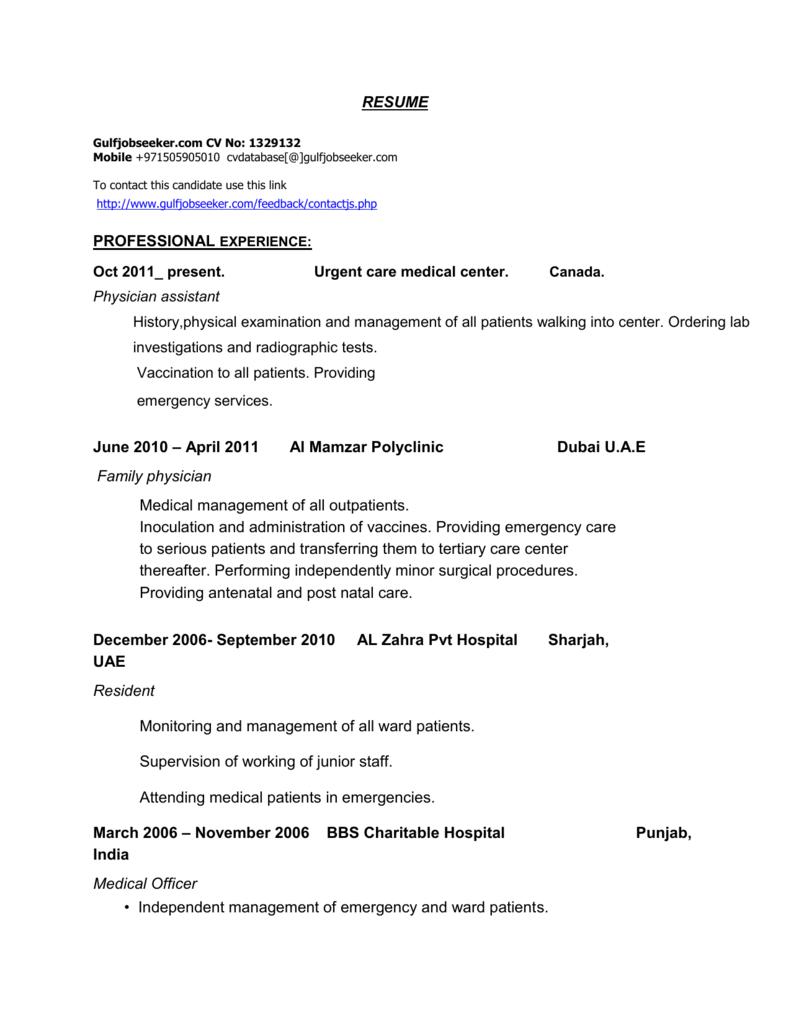 RESUME Gulfjobseeker com CV No: 1329132 Mobile +