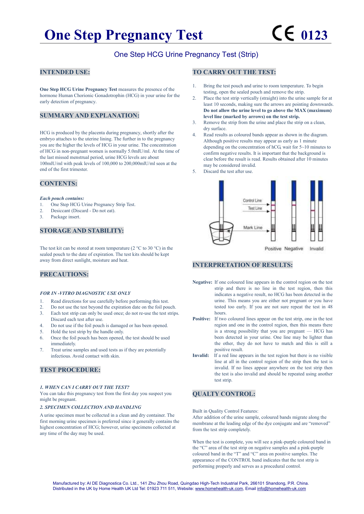 One Step HCG Urine Pregnancy Test (Strip) 019