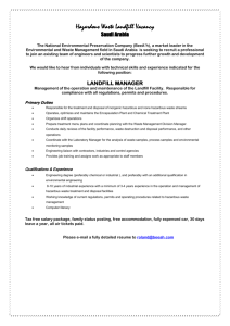 Hazardous Waste Landfill Vacancy - Institute of Waste Management