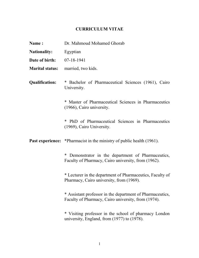 Curriculum Vitae Faculty Of Pharmacy