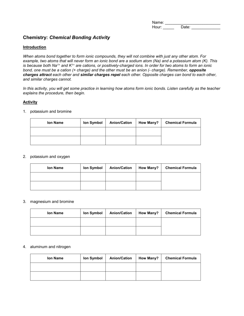 Printables Of Chemistry Worksheet Introduction To Chemical