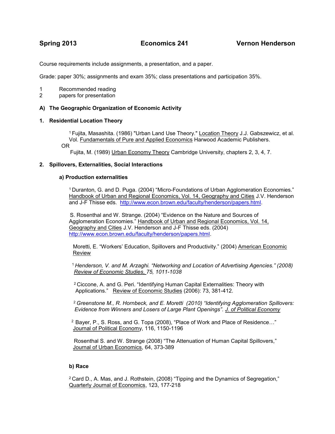 EC 2410 Urban Economics