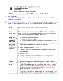coasts, worksheet 5, corals, answer - 2015-Sec3-Geog