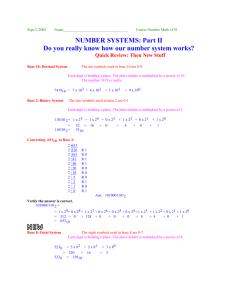 Base Number Systems