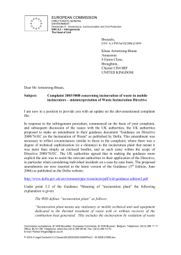 Waste Incineration Complaint to EU Commission