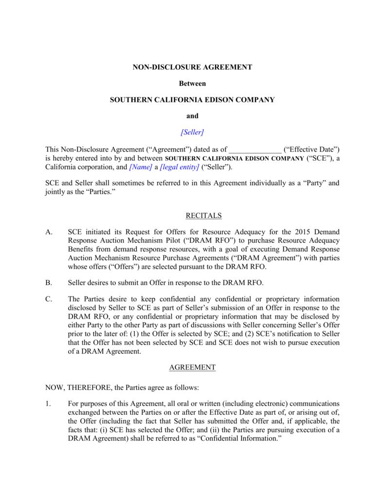 Non Disclosure Agreement Southern California Edison