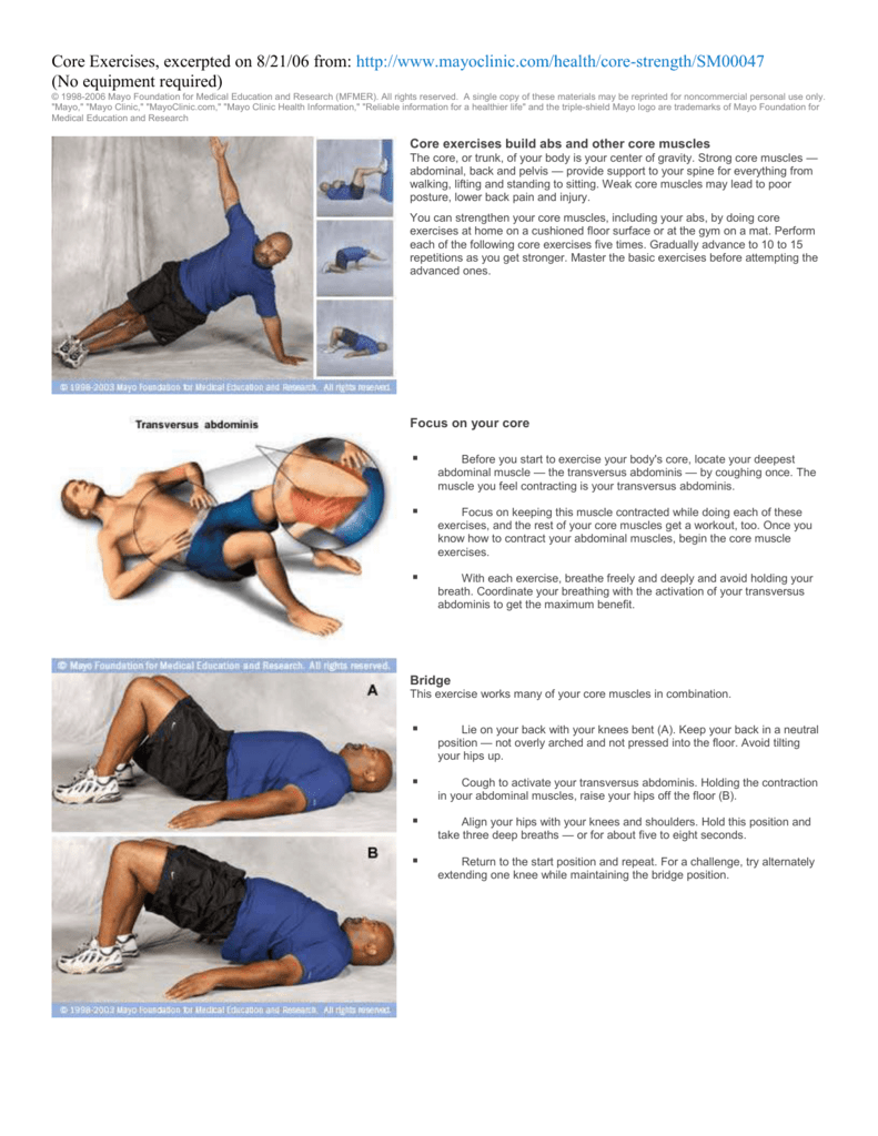 Core Exercises Mayo Clinic