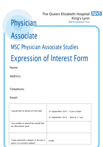 Physician Associate MSC Physician Associate Studies Expression