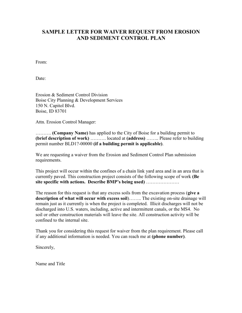 Sample letter for waiver request from erosion and sediment control spiritdancerdesigns Images