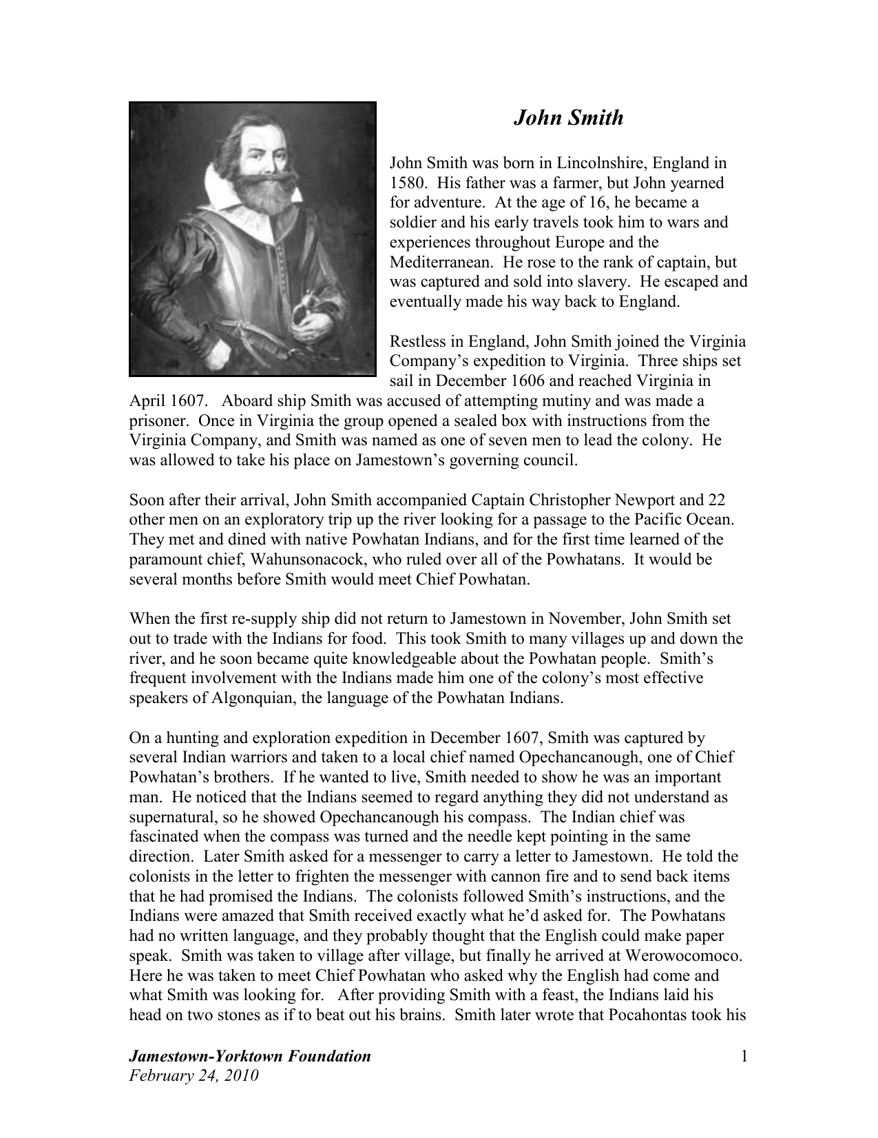 Background essay – John Smith