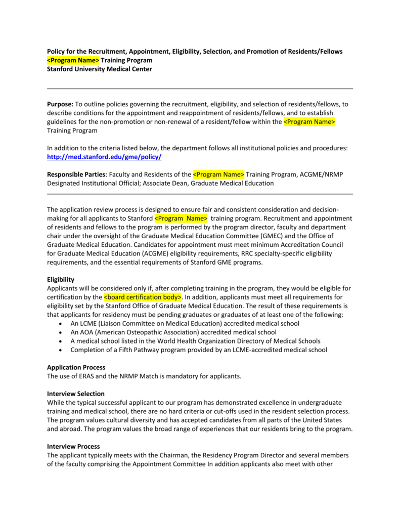 Policy for the Recruitment, Appointment, Eligibility