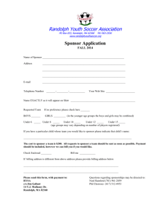 Sponsors application form - Randolph Youth Soccer Association