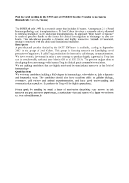 Post doctoral position in the u844 unit at INSERM (Montpellier, France)