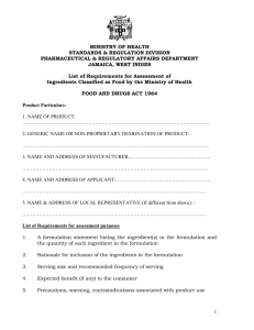 List of Requirements for Assessment of