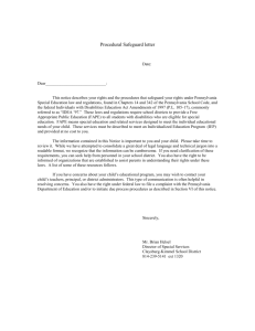 Procedural Safeguard letter