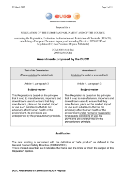 Amendments proposed by the DUCC