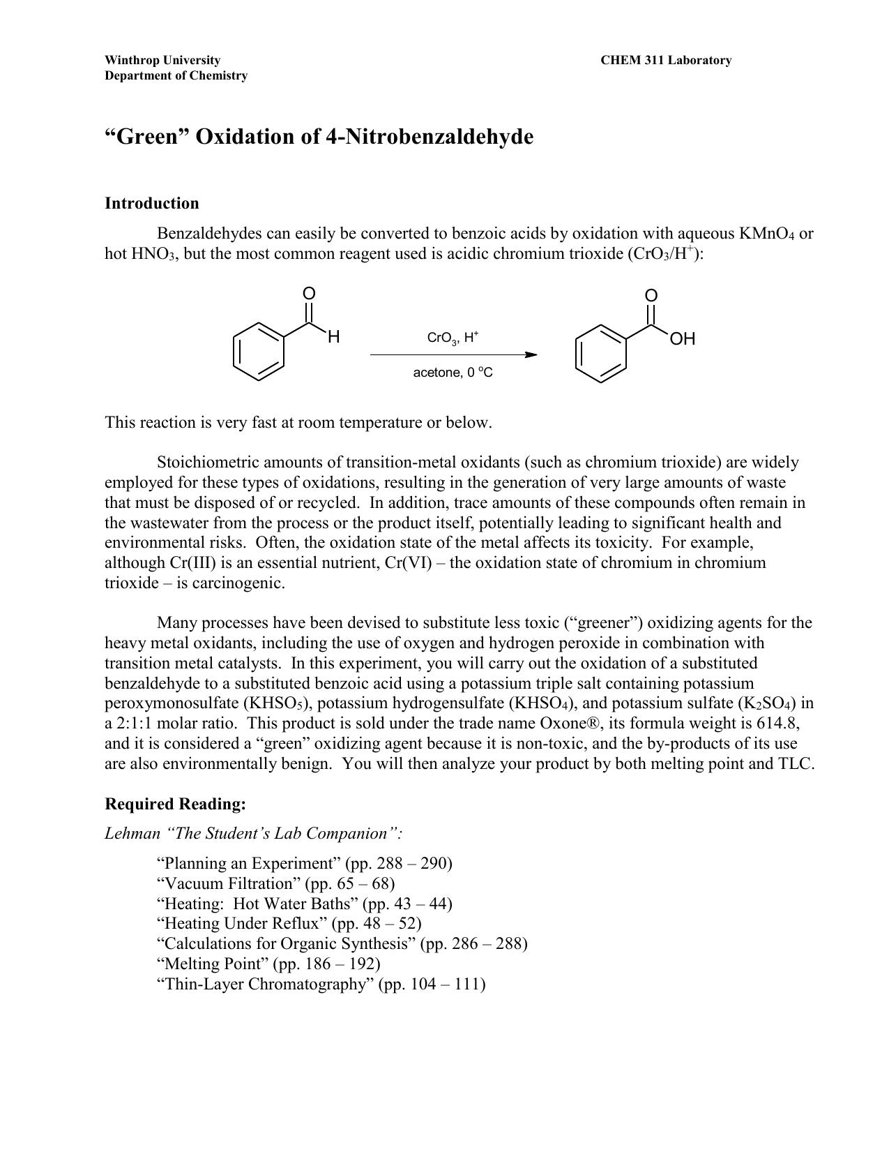 "Green"" Oxidation of 4-Nitrobenzaldehyde"