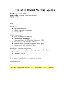 Tentative Rocket Meeting Agenda - Rohan