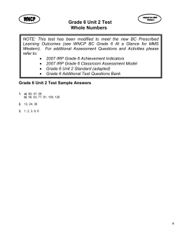 Grade 6 Unit 2 Test Whole Numbers Grade 6 Unit 2 Test Sample