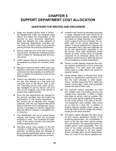 Chapter 6: Support Department Cost Allocation