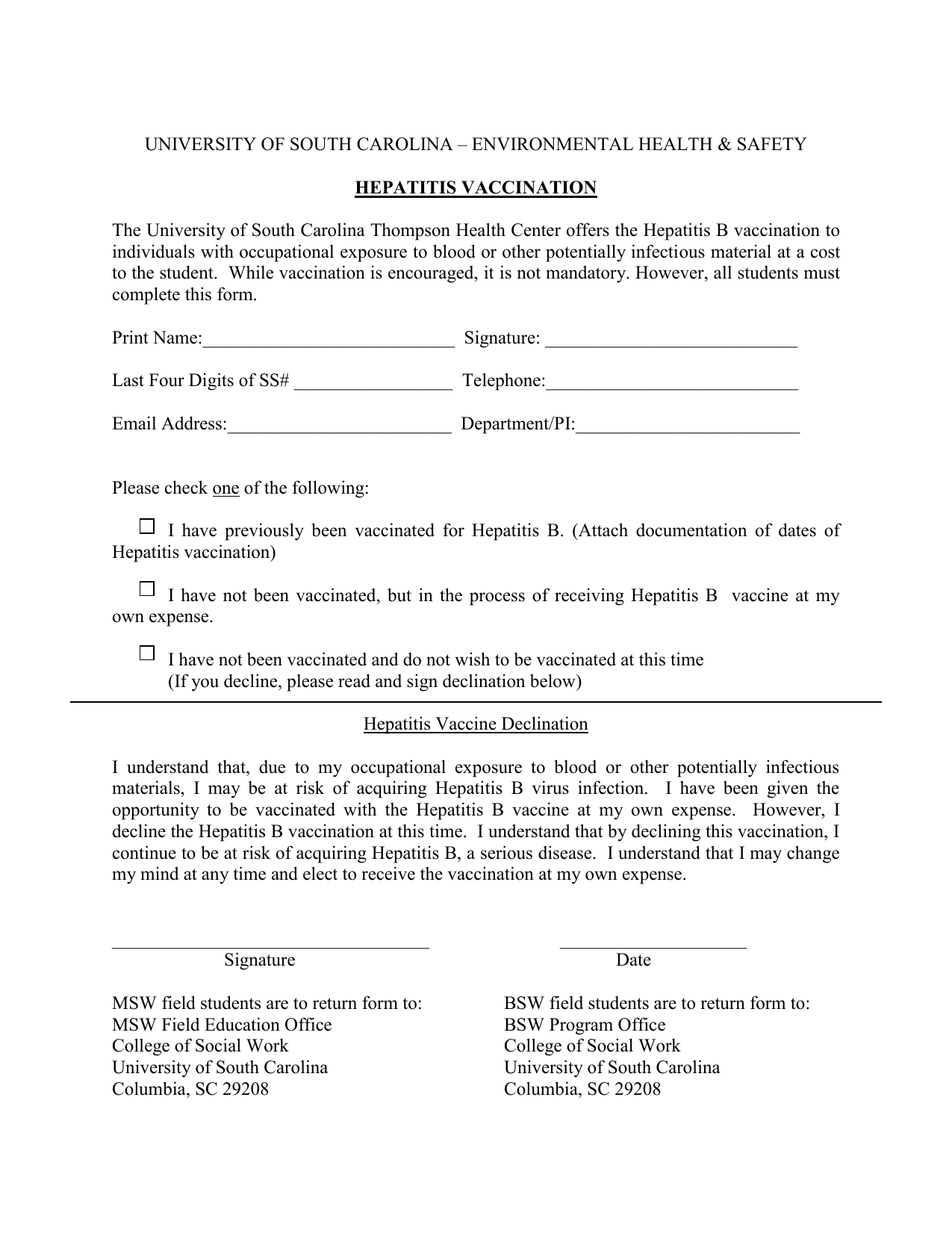 Hep B Vertification and Declination form