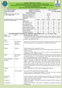 Agromet Advisory Bulletin for Sub Tropical Condition of Jammu