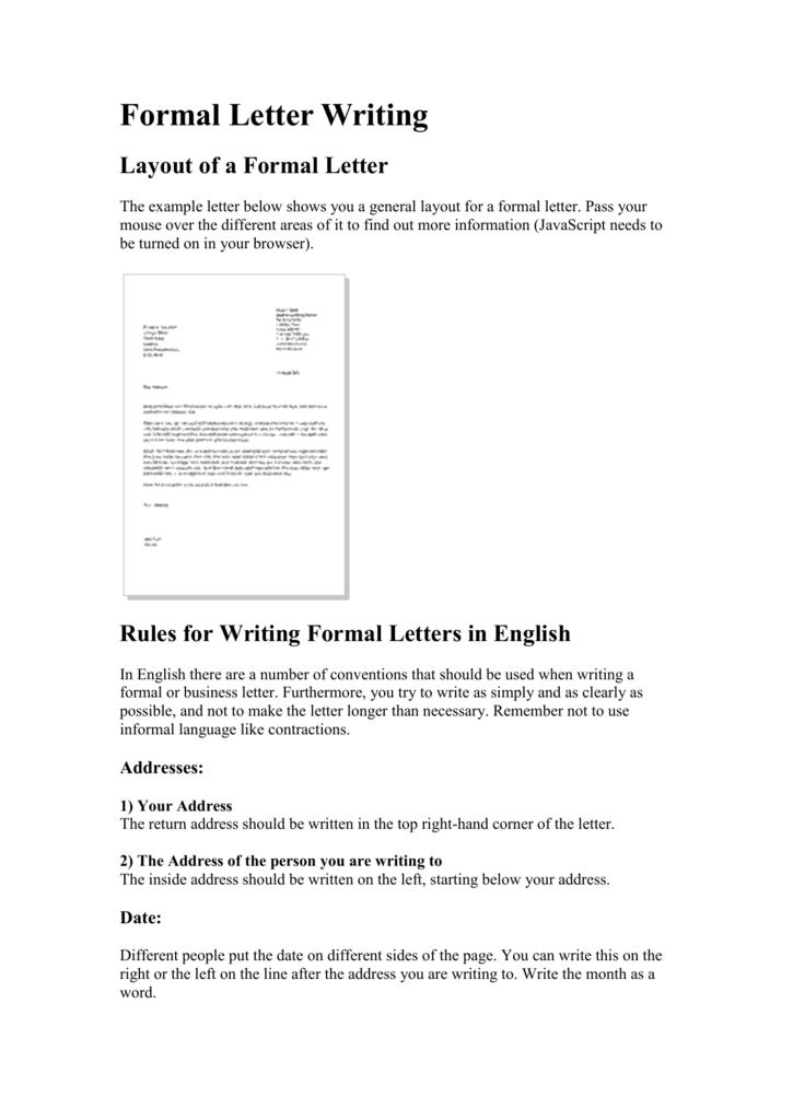 Where To Put Return Address On Letter.Formal Letter Writing