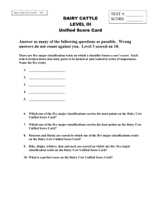 DAIRY CATTLE Unified Score Card