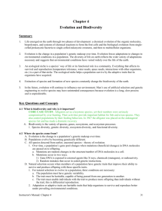Biodiversity and evolution study guide